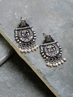 Green-Pink Tribal Silver Earrings with Pearls