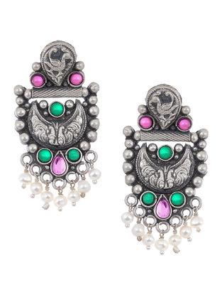Pink-Green Tribal Silver Earrings with Pearls