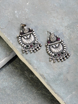 Green-Pink Tribal Silver Earrings