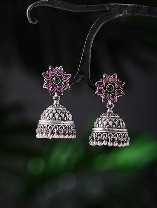 Pink-Green Tribal Silver Jhumkis