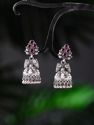 Pink Tribal Silver Jhumkis