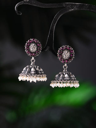 Pink Tribal Silver Jhumkis with Pearls
