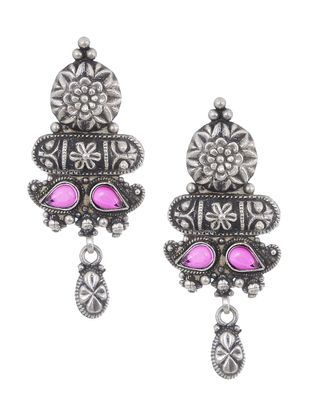 Pink Tribal Silver Earrings