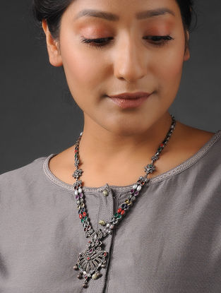 Multicolored Tribal Silver Necklace