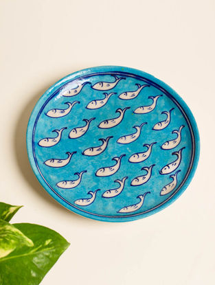 Fishing Blues Handmade Blue Pottery Ceramic Wall Plate-8in
