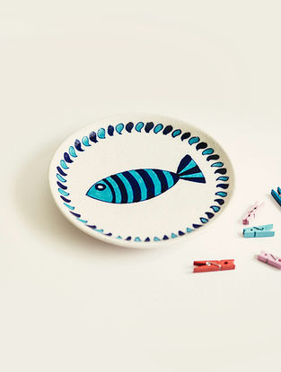 Fish and Chip Handmade Blue Pottery Ceramic Wall Plate-8in