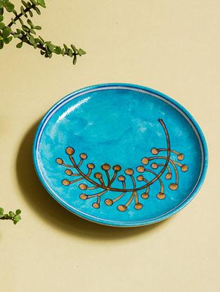 Flower Bud Handmade Blue Pottery Ceramic Wall Plate-8in