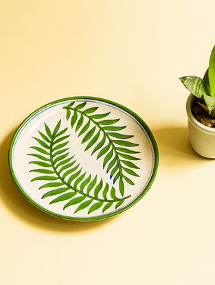 Two Ferns Handmade Blue Pottery Ceramic Wall Plate-8in