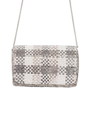 Silver-White Hand-Embroidered Satin Clutch with Japanese Beads