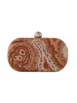 Brown-Beige Hand-Embroidered Satin Clutch with Japanese Beads