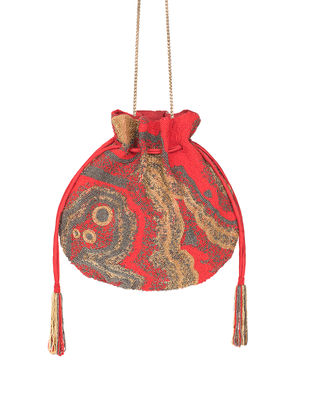 Pink Hand-Embroidered Satin Potli with Japanese Beads and Tassels