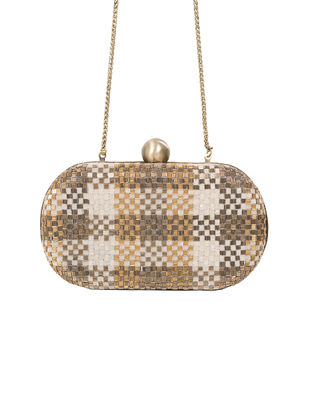 Silver-Golden Hand-Embroidered Satin Clutch with Japanese Beads