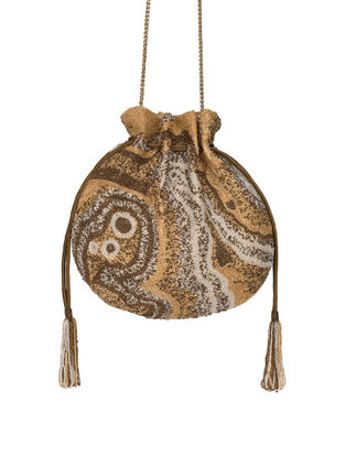Golden-Beige Hand-Embroidered Satin Potli with Japanese Beads and Tassels