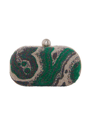 Green-Silver Hand-Embroidered Satin Clutch with Japanese Beads