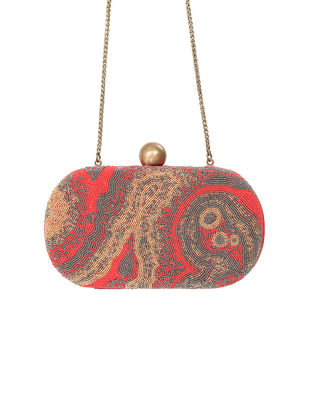 Pink Hand-Embroidered Satin Clutch with Japanese Beads