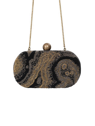 Black Hand-Embroidered Satin Clutch with Japanese Beads