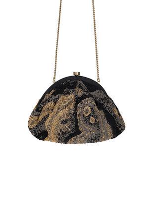 Black Hand-Embroidered Satin Batuwa Clutch with Japanese Beads