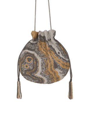Silver Hand-Embroidered Satin Potli with Japanese Beads and Tassels