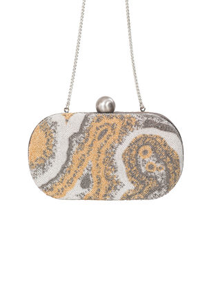Silver Hand-Embroidered Satin Clutch with Japanese Beads