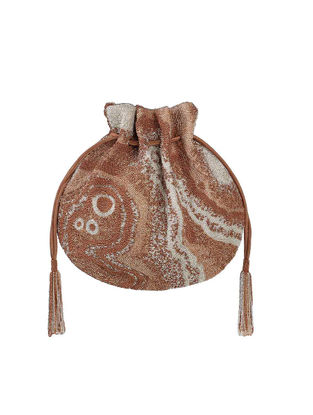 Brown Hand-Embroidered Satin Potli with Japanese Beads and Tassels