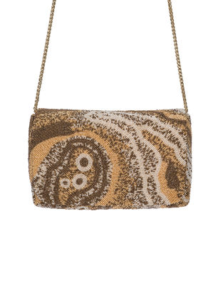 Golden-Beige Hand-Embroidered Satin Clutch with Japanese Beads