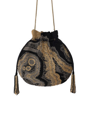 Black Hand-Embroidered Satin Potli with Japanese Beads and Tassels