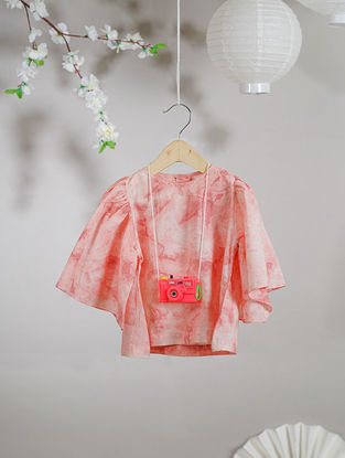 Ivory-Pink Kimono Sleeve Tie and Dye Organic Cotton Top
