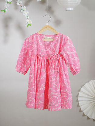 Pink-White Block-printed Angrakha Cotton Dress