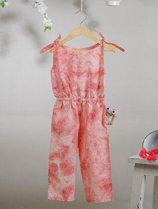 Ivory-Pink Tie and Dye Cotton Jumpsuit with Pocket
