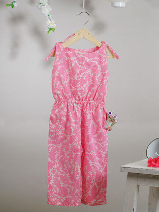 Pink-White Block-printed Cotton Jumpsuit with Pocket