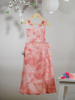Ivory-Pink Tie and Dye Cotton Pinafore Dress with Pocket