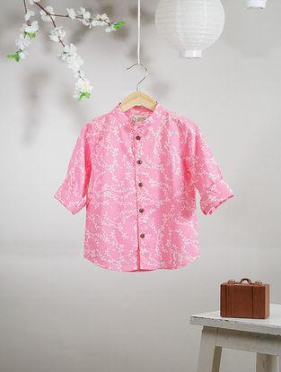 Pink-White Mandarin Collar Block-printed Cotton Shirt