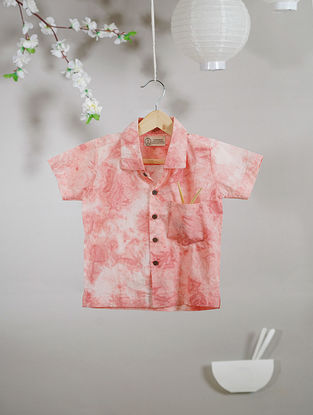 Ivory-Pink Tie and Dye Cotton Shirt