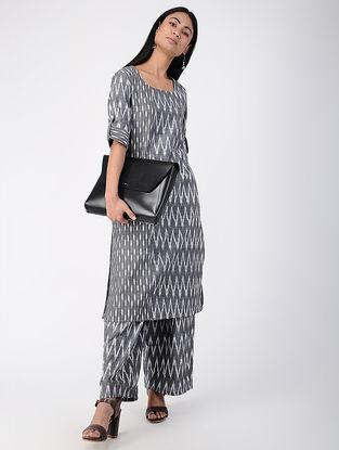 Grey Ikat Cotton Kurta with Pants (Set of 2)