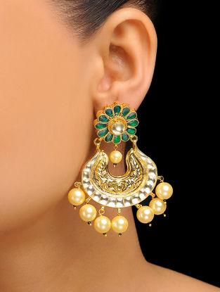 Green Gold Tone Kundan Inspired Jadau Earrings