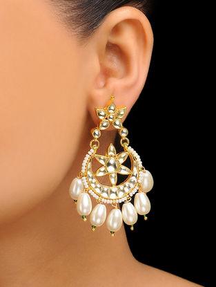 White Gold Tone Kundan Inspired Jadau Pearl Drop Earrings