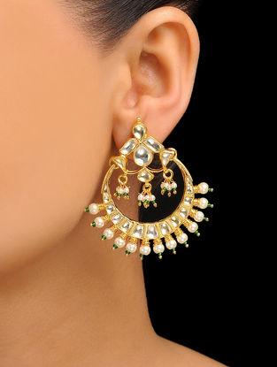 Gold Tone Kundan Inspired Jadau Pearl Earrings