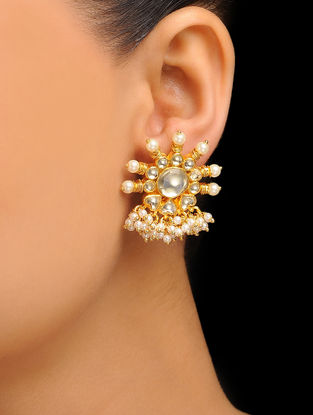 White Gold Tone Kundan Inspired Jadau Stud Earrings