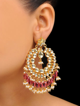 Red Gold Tone Kundan Inspired Jadau Pearl Earrings