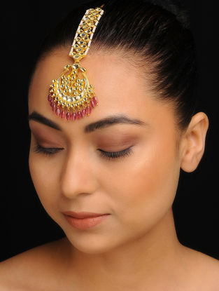Pink Gold Tone Kundan Inspired Jadau Mang Tikka