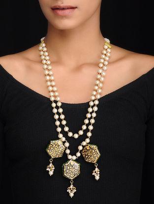 Blue Gold Tone Meenakari Pearl Beaded Necklace
