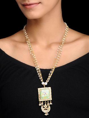 Green Gold Tone Kundan Inspired Meenakari and Jadau Beaded Necklace