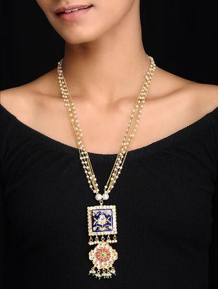 Blue Gold Tone Kundan Inspired Meenakari and Jadau Beaded Necklace