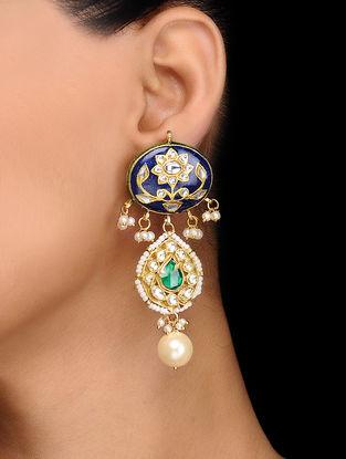 Blue Gold Tone Kundan Inspired Meenakari and Jadau Earrings