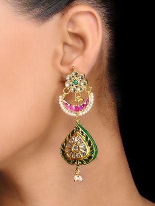 Pink-Green Gold Tone Kundan Inspired Meenakari and Jadau Earrings