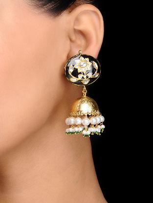 Black Gold Tone Kundan Inspired Meenakari Earrings