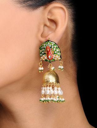 Red-Green Gold Tone Kundan Inspired Meenakari Earrings