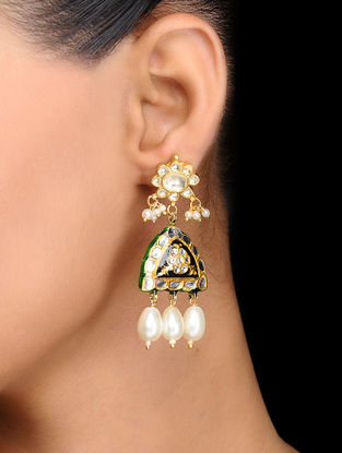 Black Gold Tone Kundan Inspired Meenakari and Jadau Earrings