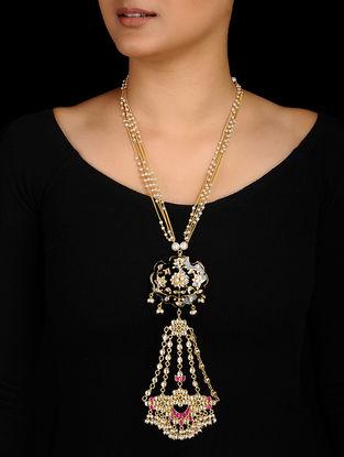 Black-Pink Gold Tone Kundan Inspired Meenakari and Jadau Necklace