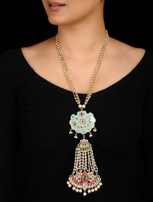 Feroza Gold Tone Kundan Inspired Meenakari and Jadau Necklace